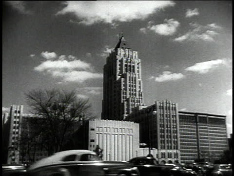 1942 ws detroit buildings / detroit, michigan, united states - 1942年点の映像素材/bロール