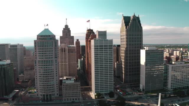detroit downtown city skape - detroit michigan stock videos & royalty-free footage