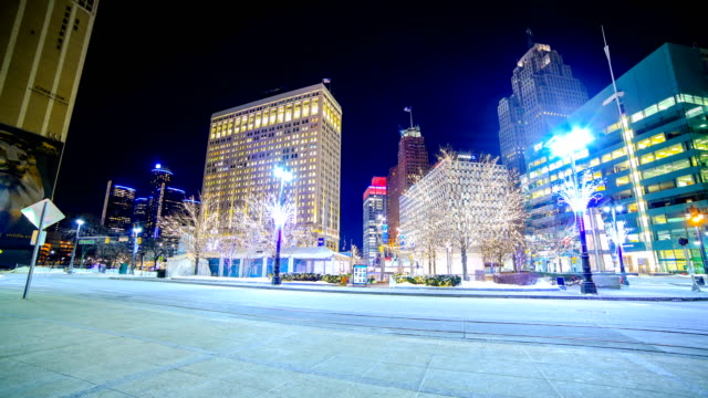 detroit, mi in the winter - detroit michigan stock videos & royalty-free footage