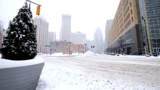 冬にデトロイト、mi - 凍った点の映像素材/bロール