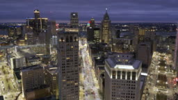 Detroit Michigan aerial view at night