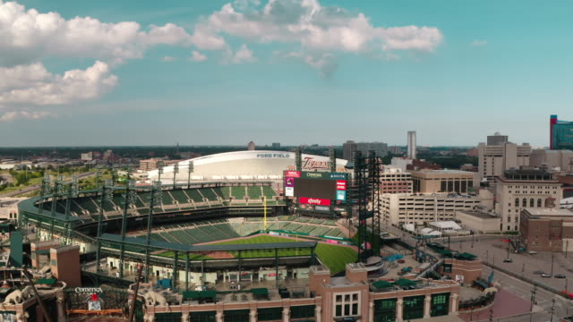detroit tigers field - aerial stock videos & royalty-free footage