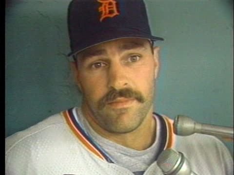 detroit tigers player kirk gibson talks about baseball owners abiding by their agreements with players. - sport stock videos & royalty-free footage