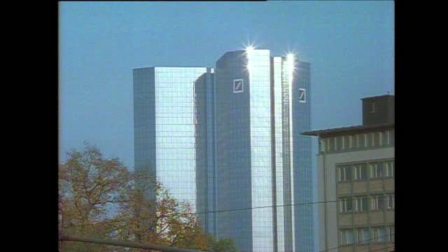 deutsche bank twin towers in frankfurt am main; 1990 - tower stock videos & royalty-free footage