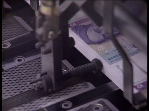 deutsche mark banknotes being cut and sorted then stored in vault - german currency stock videos and b-roll footage
