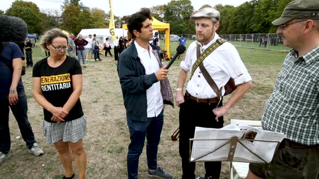 Deutsche Welle journalist Jaafar Abdul Karim interviews a band member who sang a folk song at a gathering entitled 'Europa Nostra' and hosted by the...