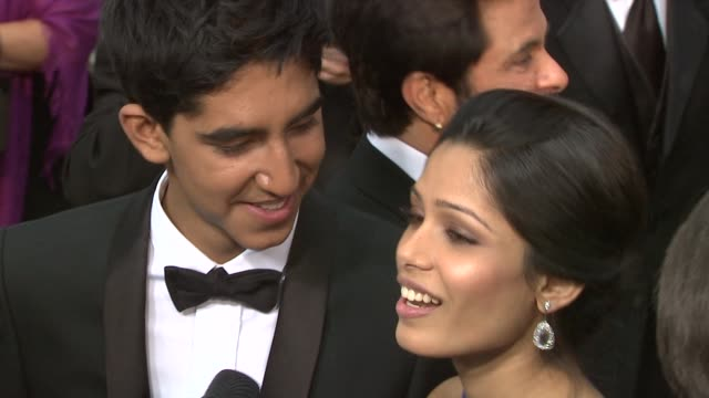 Dev Patel and Freida Pinto at the 81st Academy Awards Arrivals Part 5 at Los Angeles CA