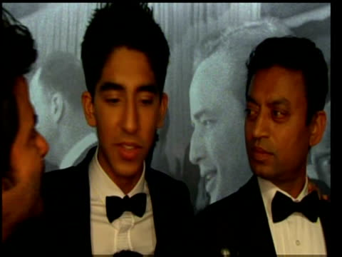 dev patel comments on slumdog millionaire oscar success with anil kapoor and irrfan khan at 81st annual academy awards los angeles; 22 february 2009 - actress stock videos & royalty-free footage