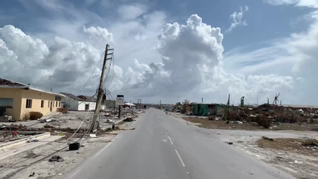 devastation on marsh harbour, abaco island, on september 11, 2019. hurricane dorian made landfall on the island as a category 5 hurricane leveling... - bahamas点の映像素材/bロール
