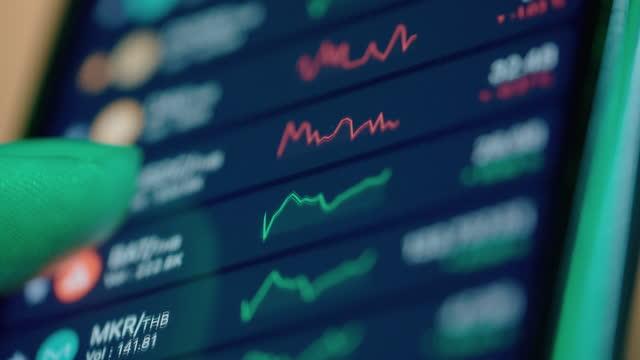 stockvideo's en b-roll-footage met device screen of financial markets. - image effect