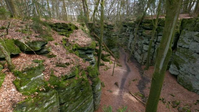 devil's gorge or teufelsschlucht, ferschweiler plateau, south eifel nature park - sandstone stock videos & royalty-free footage