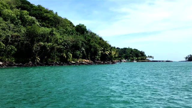 devil's island seen from the ship. french guyana - devil's island french guiana stock videos & royalty-free footage