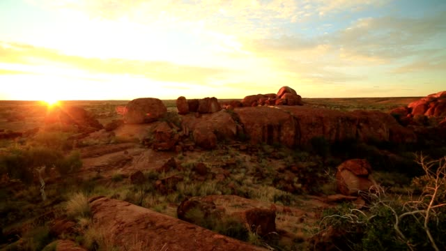 devil's marbles at sunrise, northern territory, australia - land stock videos & royalty-free footage