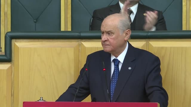 Devlet Bahceli leader of opposition Nationalist Movement Party speaks at meeting of MHP lawmakers at the Grand National Assembly of Turkey in Ankara...