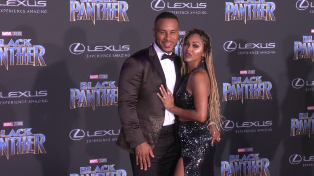 DeVon Franklin and Meagan Good at the Marvel Studios' 'Black Panther' World Premiere at Dolby Theatre on January 29 2018 in Hollywood California