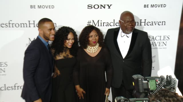 devon franklin meagan good serita jakes and td jakes at miracles from heaven los angeles premiere at arclight cinemas on march 09 2016 in hollywood... - arclight cinemas hollywood stock videos & royalty-free footage