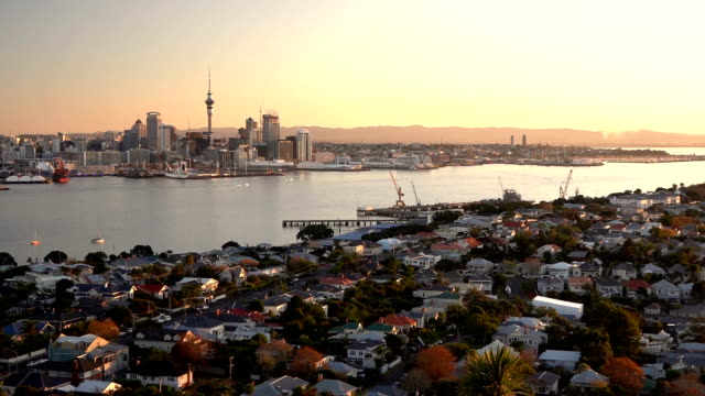 devonport, auckland - panning view - documentario video stock e b–roll