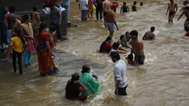 devotee take holy bath at kumbh mela, nashik - maharashtra stock-videos und b-roll-filmmaterial