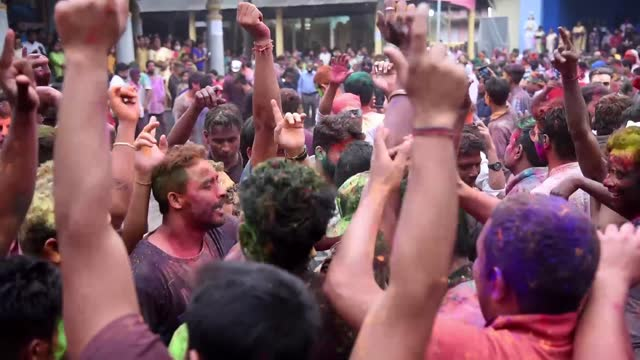 devotees celebrate holi festival at the kirtanghar ground, amid covid-19 coronavirus pandemic, at barpeta satra namghar, on march 29, 2021 in... - bright colour stock videos & royalty-free footage