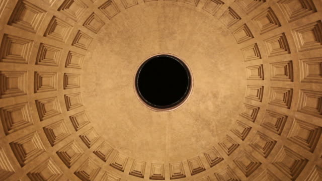 dezoom video of the pantheon temple impluvium - paganism stock videos and b-roll footage