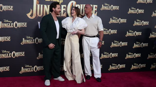 """édgar ramírez, emily blunt and dwayne johnson attend the world premiere of disney's """"jungle cruise"""" at disneyland on july 24, 2021 in anaheim,... - premiere event stock videos & royalty-free footage"""