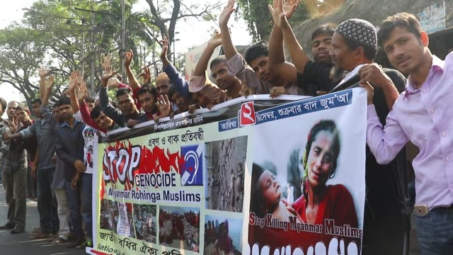 dhaka 02 dec 16 the hearing impaired people in the city on friday protested the recent rohingya killings in myanmar's rakhaine state by waving their... - hearing impairment stock videos & royalty-free footage