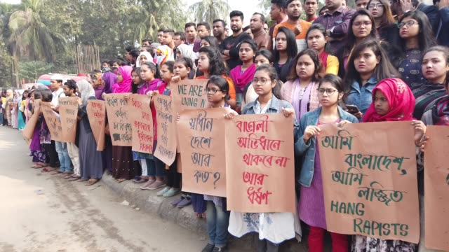 dhaka university students have blocked the key shahbagh intersection demanding punishment of people involved in the rape of a secondyear female... - sexual violence stock videos & royalty-free footage