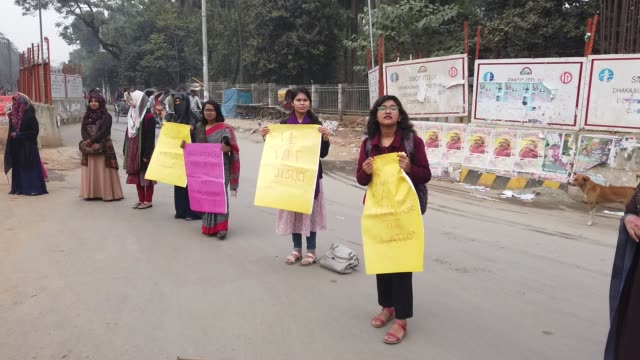 dhaka university students have blocked the tsc intersection demanding punishment of people involved in the rape of a secondyear female student of the... - sexual violence stock videos & royalty-free footage