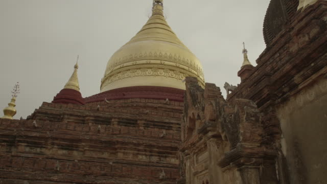 w/s long dolly track side, dhammayazika pagoda, bagan - kuppeldach oder kuppel stock-videos und b-roll-filmmaterial