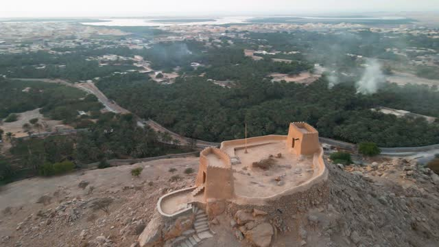 dhayah fort in north ras al khaimah emirate of the uae aerial view at sunset - history stock videos & royalty-free footage