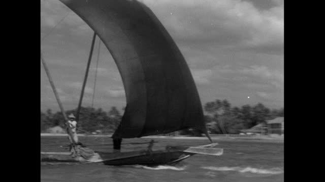 montage dhow fishing boat sailing toward shore / sri lanka - 大三角帆点の映像素材/bロール