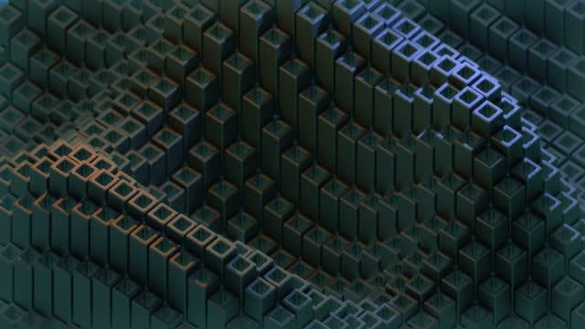 diagonal cube waves looping abstract loop - block shape stock videos & royalty-free footage
