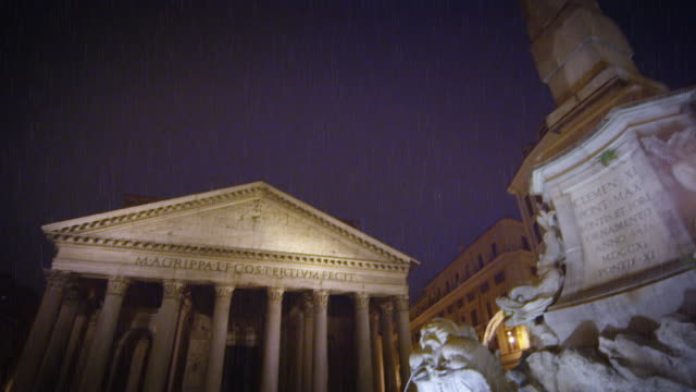 diagonal shot from obelisk and fountain to pantheon at night - wet wet wet stock videos & royalty-free footage