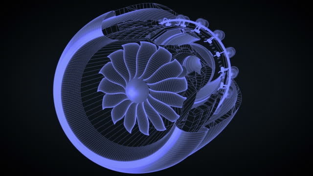 diagram of jet engine with cut out rotates into position - motore d'aeroplano video stock e b–roll