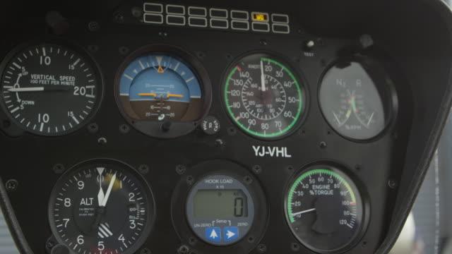 vídeos y material grabado en eventos de stock de vanuatu - march 29, 2015: cu dials in helicopter cockpit - dial