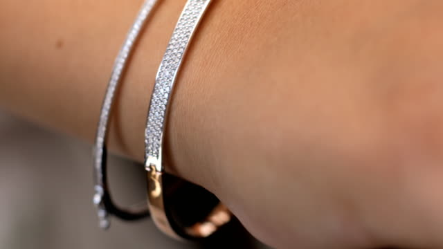 diamond bracelet jewellery gift for women - chain stock videos & royalty-free footage