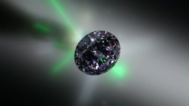 Diamond glittering under white light and green laser light