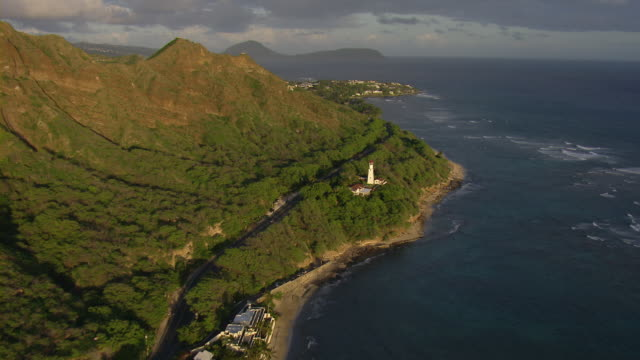 diamond head lighthouse on the hawaiian island of oahu, aerial view. - oahu stock videos and b-roll footage