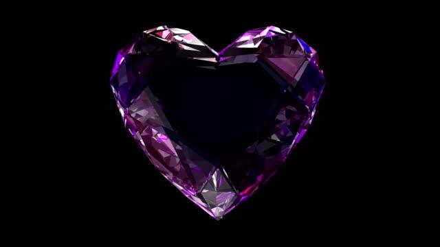 diamond heart 4k loop - stone object stock videos & royalty-free footage