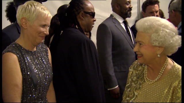 vídeos de stock e filmes b-roll de diamond jubilee concert: queen elizabeth meeting performers; queen elizabeth introduced to comedians lee mack and lenny henry queen elizabeth... - lenny henry