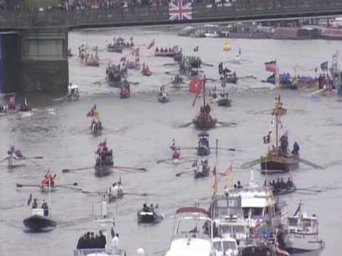 diamond jubilee pageant on the river thames - beauty contest stock videos and b-roll footage