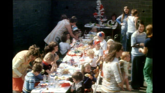 1977 various of silver jubilee street party 1977 pix end - street party stock videos and b-roll footage