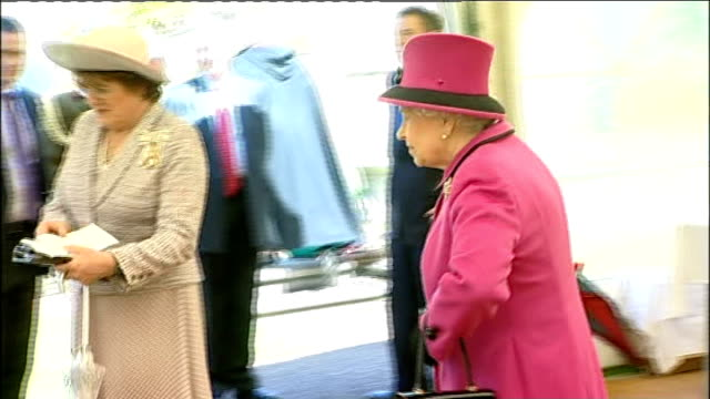 queen visits salisbury queen prince philip and others leaving marquee queen and others into marquee / queen and duke of edinburgh signing visitors'... - book signing stock videos & royalty-free footage