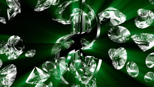 stockvideo's en b-roll-footage met diamond #9 rays hd green - stone object