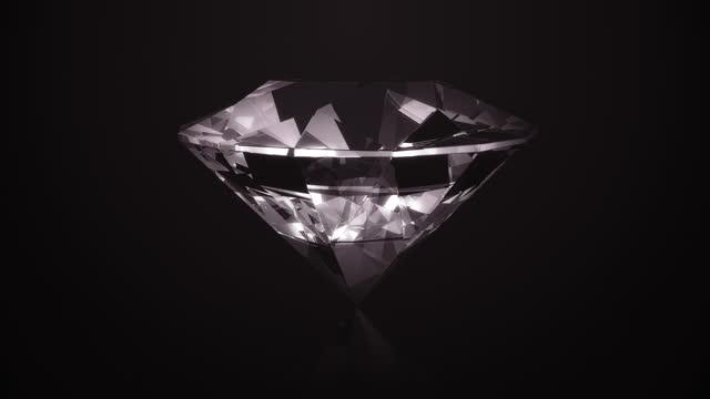 鑽石在黑色背景 4k 上旋轉(迴圈) - 折射 個影片檔及 b 捲影像