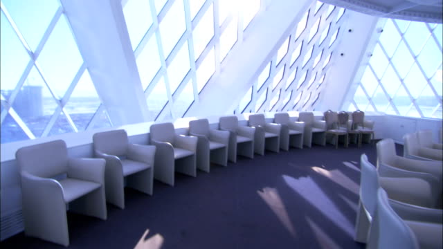 Diamond shaped windows gleam above a circular conference room at the Palace of Peace and Reconciliation in Astana Kazakhstan. Available in HD.