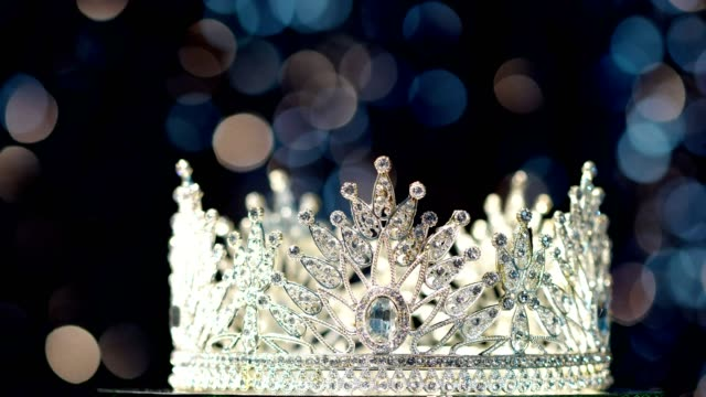 diamond silver crown miss pageant beauty contest - crown headwear stock videos & royalty-free footage
