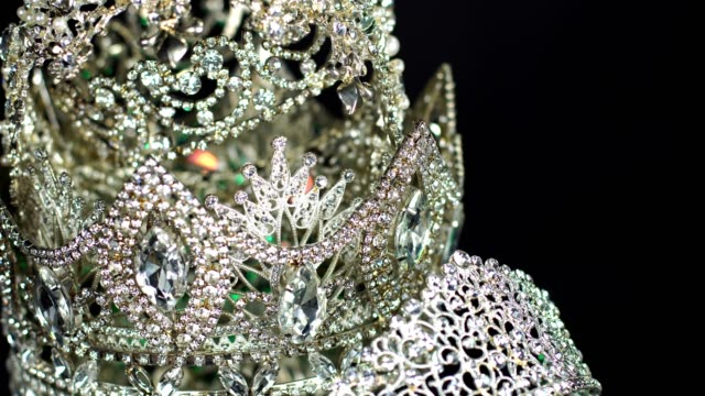 diamond silver crown miss pageant beauty contest - pearl jewellery stock videos & royalty-free footage