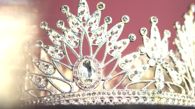 diamond silver crown miss pageant beauty contest - tiara stock videos & royalty-free footage