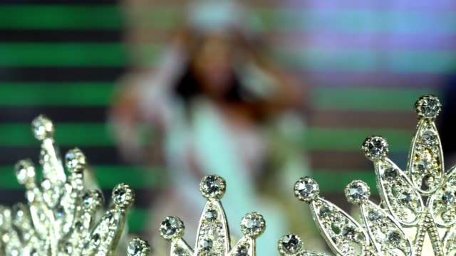 diamond silver crown miss pageant beauty contest - beauty contest stock videos & royalty-free footage